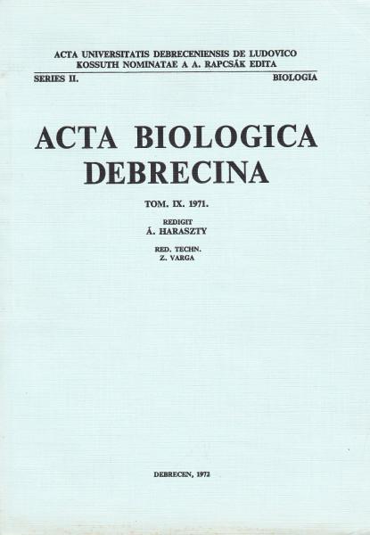 Acta Biologica Debrecina: 9.(1971)
