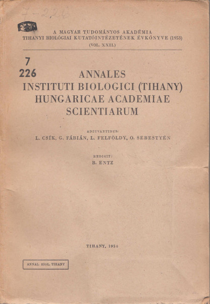 Annales Instituti Biologici (Tihany) Hungariae Academiae Scientiarum: 22.(1954)